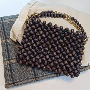 Vintage Wood Bead Gold Chain Woven bag Grey Gold